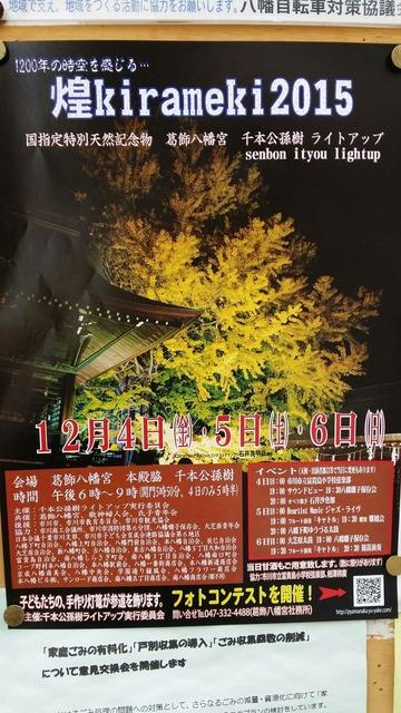 葛飾八幡宮の銀杏ライトアップ「煌2015」